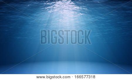 Blue ocean surface seen from underwater. Abstract Fractal waves underwater and rays of sunlight shining through stock photo