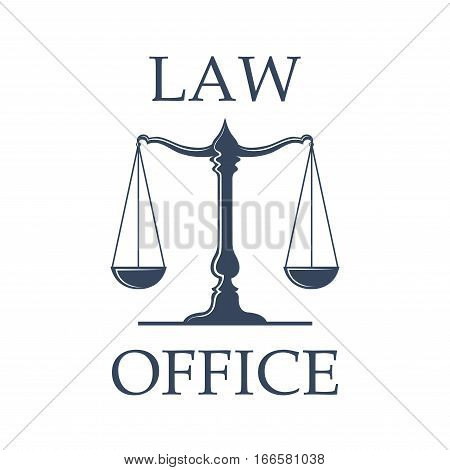 Law or advocate office emblem. Vector icon with Scales of Justice symbol for juridical emblem of advocacy or notary company, law attorney and legal advocate, judge court or lawyer badge stock photo