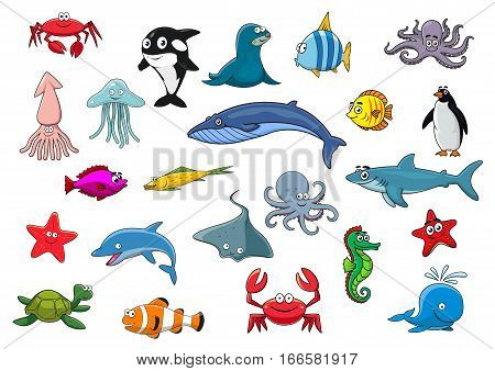 Sea fish and ocean animals icons. Vector isolated cartoon lobster crab, squid and jellyfish, seal, dolphin and shark whale, clown fish or flounder and tropical butterflyfish, starfish and seahorse, octopus, stingray, penguin and turtle