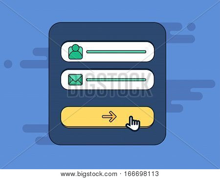 Web Template and Elements for site form of email subscribe newsletter or login to account submit. Vector stock photo