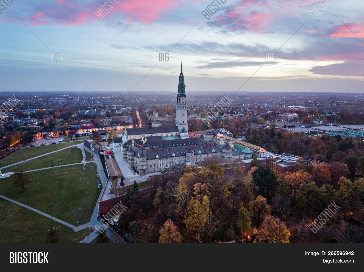 Czestochowa,Gora,Jasna,Luminous,Mount,Poland,Silesia,aerial,architecture,building,catholic,catholicism,church,city,drone,europe,evening,historic,landmark,monastery,night,pilgrimage,religion,sanctuary,sky,tower,travel