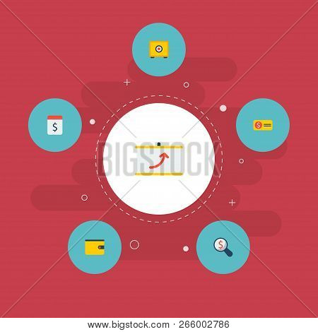 Set of commerce icons flat style symbols with pay day, bill, financial research and other icons for your web mobile app logo design. stock photo