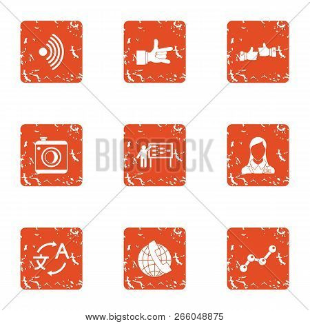 Comprehensive icons set. Grunge set of 9 comprehensive icons for web isolated on white background stock photo