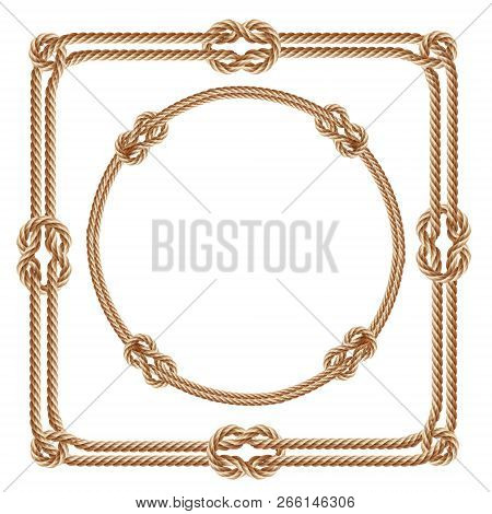 3d realistic square and round frames, made from fiber ropes. Jute or hemp twisted cords with loops and knots, isolated on white background. Decorative elements with brown packthread. stock photo