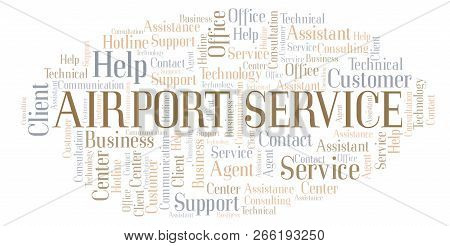 Airport Service word cloud. Wordcloud made with text only. stock photo