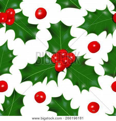Holly berry. winterberry seamless pattern. Christmas symbol vector illustration Decorative stock photo