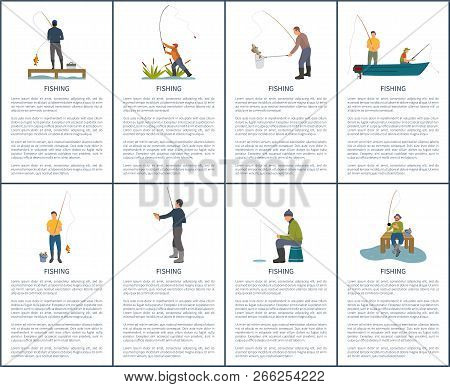 Fishing man from platform, boat and bank. Standing and sitting fishers with fish-rod, fish and bucket, landing net, box for tackle vector illustration stock photo