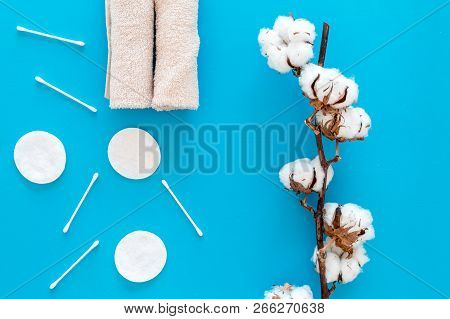 Cotton hygiene products. Cotton pads and swabs, towels twisted coil near dry cotton flowers on blue background top view stock photo