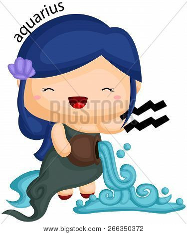 aquarius zodiac sign portrayed by a girl and a flowing water stock photo