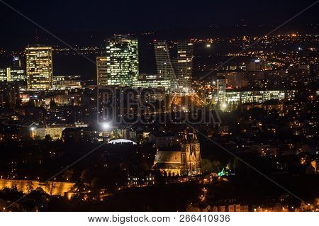 Evening view of Vysehrad and the modern Prague 4 Skyline Prague. V-Tower. View from Petrin tower. Czech Republic stock photo