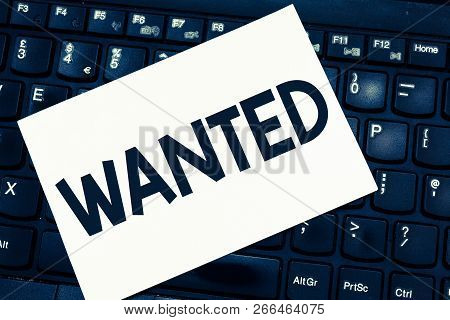 Text sign showing Wanted. Conceptual photo Desire something Wish want Hoping for Somebody being searched stock photo