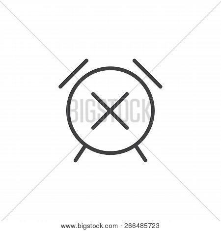 Alarm clock cancel outline icon. linear style sign for mobile concept and web design. Snooze time simple line vector icon. Symbol, logo illustration. Pixel perfect vector graphics stock photo
