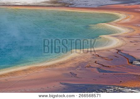 Detail of Grand Prismatic Spring in Yellowstone National Park, Wyoming stock photo