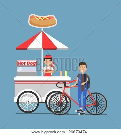 Hot-dog cart vendor in uniform, customer with bicycle. Street snack mobile shop of hot dogs. Fast-food trolley seller and buyer vector illustration stock photo
