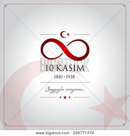 10 kasim vector illustration. (10 November, Mustafa Kemal Ataturk Death Day anniversary.) stock photo