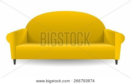 Camel yellow sofa mockup. Realistic illustration of camel yellow sofa mockup for web design isolated on white background stock photo