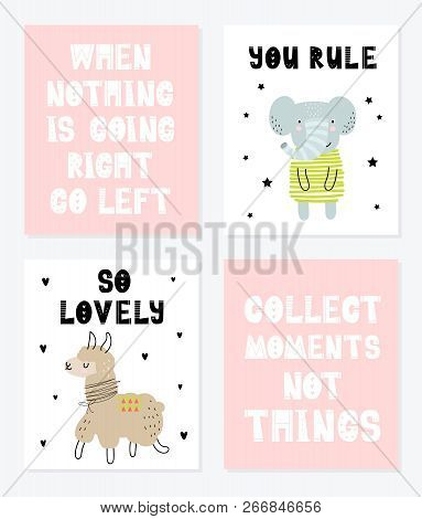 Vector poster collection with cartoon cute animal and funny slogan for kids. Hand drawn graphic zoo. Perfect for baby shower, postcard, label, brochure, flyer, page, banner design. stock photo