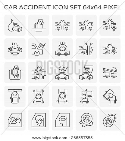Car accident icon design, 64x64 perfect pixel and editable stroke. stock photo