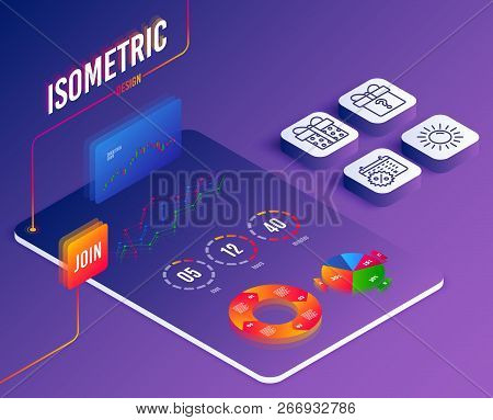 Isometric vector. Set of Sun, Secret gift and Gift box icons. Calendar discounts sign. Summer, Unknown package, Present package. Shopping.  Software or Financial markets. Analysis data concept. Vector stock photo