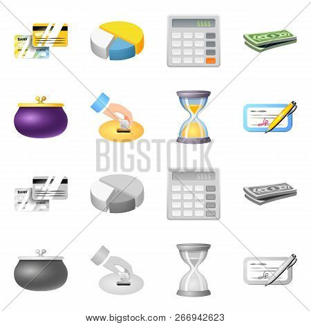 Vector design of bank and money icon. Set of bank and bill vector icon for stock. stock photo