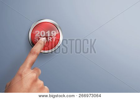 Male hands push the button. Ready to New year 2019. Happy New Year 2019 stock photo