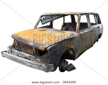 The isolated old destroyed car without wheels and glasses; with clipping paths stock photo