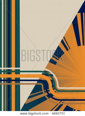 Stripes and a sunburst are featured in an abstract vector illustration. stock photo
