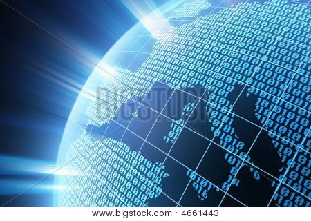 Binary code on a surface of a planet stock photo