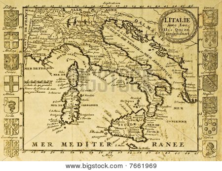 Map of Italy framed by territorial crests. May be dated to the beginning of XVIII sec. stock photo
