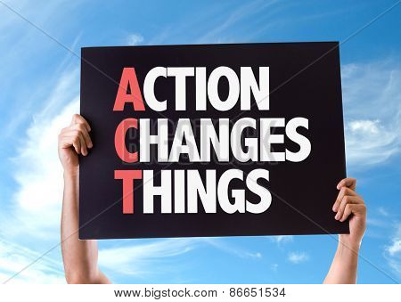 Action Changes Things card with sky background stock photo