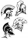 Outline simple warriors or fighters heads