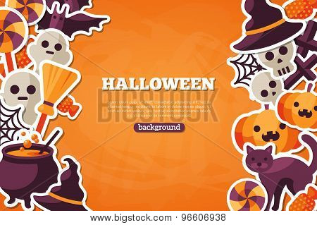 Halloween Concept Banner With Flat Icon on Orange Textured Backdrop.