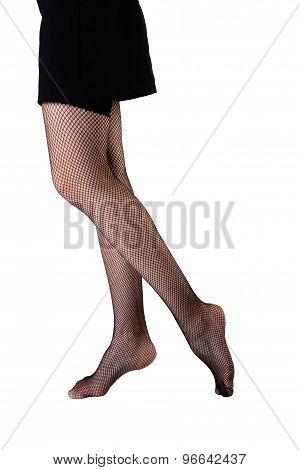 Photo of a slim female legs in stockings. Studio photography. stock photo