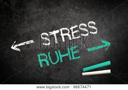 Conceptual Stress and Silence Message Written on a Black Chalkboard with Chalk Sticks in the Lower Right Corner. stock photo