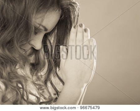 Woman Praying To God Jesus. Religion Faith.