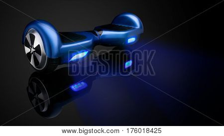 Blue hover board, on a black Background stock photo