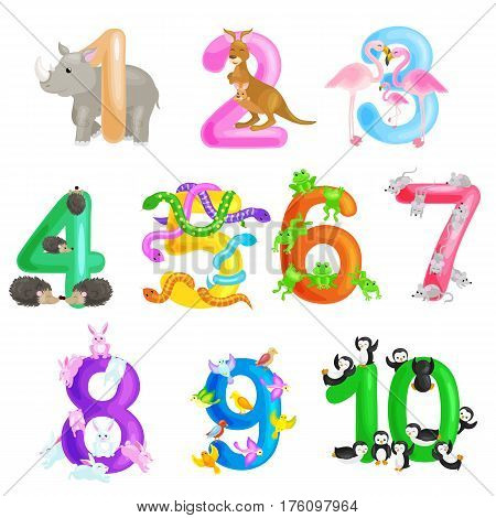 Set of ordinal numbers for teaching children counting with the ability to calculate amount of animals, suitable for abc alphabet kindergarten books or elementary school posters collection vector illustration stock photo