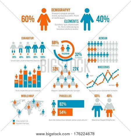 Business statistics graph, demographics population chart, people modern infographic vector elements. Set of elements for demographic infographic, illustration population statistic graph and chart