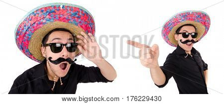 Funny mexican with sombrero in concept stock photo