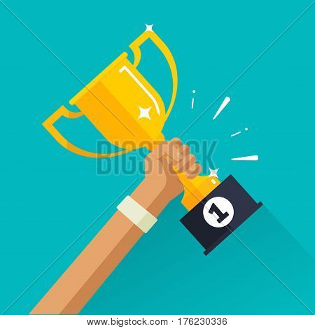 Winner achievement sport award vector illustration, golden cup in sportsman hand with first place label, success win, champion reward