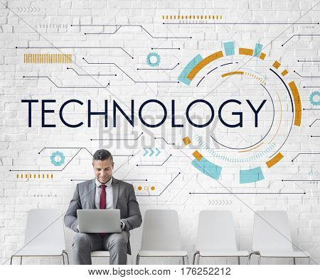 Technology Background Digital Computer Network stock photo