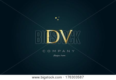 dv d v gold golden luxury product metal metallic alphabet company letter logo design vector icon template green background stock photo