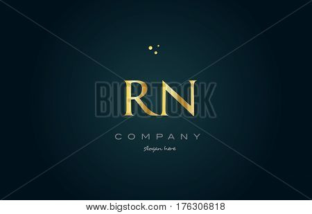 rn r n gold golden luxury product metal metallic alphabet company letter logo design vector icon template green background stock photo