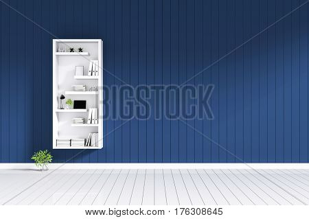 3d rendering : room Minimalist interior light and shadow with white book shelf at front of blue color shiny wooden tile wall with white floor. minimalism style wall in background. decorate interior stock photo