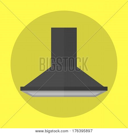 Air exhauster black kitchen fan modern appliance extractor aspirator conditioner and ventilator filter stainless counter vector illustration. Electric stove cooker hood modern electric technology. stock photo