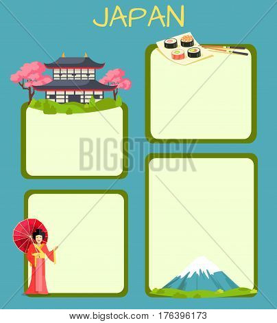 Japan touristic banner with national symbols and copyspace. Japanese cultural, architectural and nature attractions flat vector illustration. Vacation in exotic country concept for travel company ad