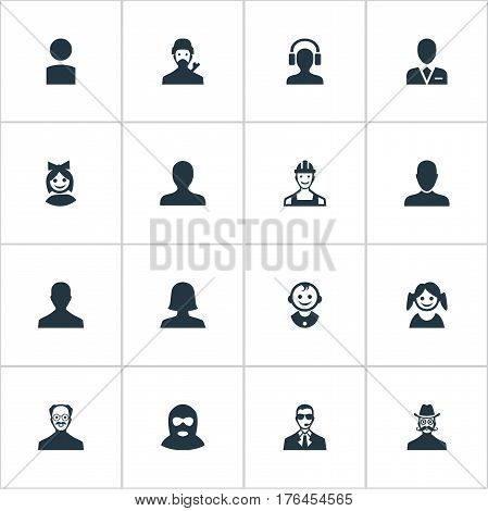 Vector Illustration Set Of Simple Avatar Icons. Elements Moustache Man, Felon, Whiskers Man And Other Synonyms Felon, Bodyguard And Small. stock photo