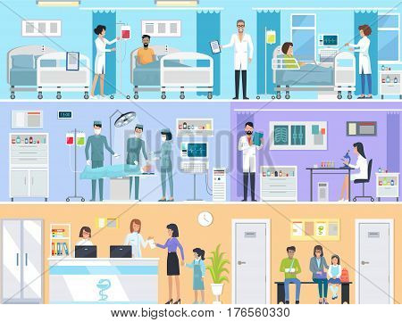 Horizontal set of medical services with doctors and patients in hospital. Vector illustration of reception, laboratory with radiographs and microscope, operating room and hospital for in-patients. stock photo