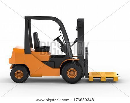 3d rendering forklift truck with yellow pallet on white background stock photo