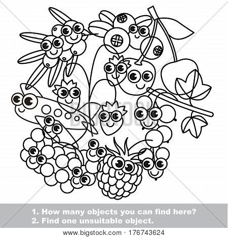 Set of cute berries. Mishmash set in vector outlined to be colored. Find all hidden objects on the picture. Easy educational kid game. Simple level of difficulty. Visual game for children. stock photo